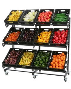 Single Sided Mobile Fruit and Vegetable Display - 1600mm