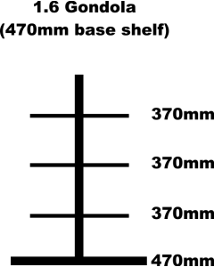 Gondola Bay, 1.6m High with 470mm Base Shelf and 3 x 370mm Shelves Each Side