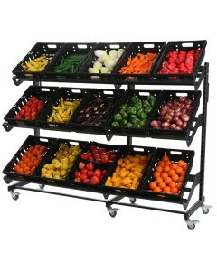 Single Sided Mobile Fruit and Vegetable Display - 2000mm