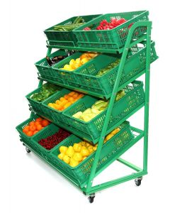4 Tier Green Mobile Fruit & Veg Display 1300mm