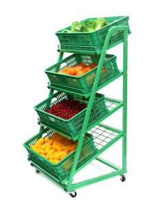 4 Tier Green Mobile Fruit & Veg Display 650mm