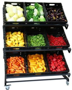 Single Sided Mobile Fruit and Vegetable Display - 1200mm