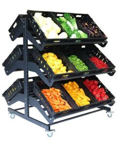 1200mm Double Sided Mobile Fruit and Vegetable Display