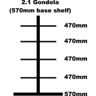 Gondola Bay, 2.1m High with 570mm Base Shelf and 4 x 470mm Shelves Each Side